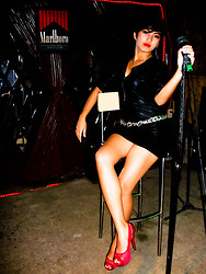 Ivana Villanueva - Botique 101 Chain Necklace, Leathery Micromini Dress, Le Donne Red Pumps - Hot Rock