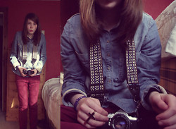Alice Larke - River Island Denim Shirt, Topshop Crucifix Ring, River Island Burgundy Skinnys - Crucifix ring.