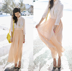 Alyssa Lau - Required Flare Pink Skull Bracelet, Love Peach Silk Maxi Skirt, Goodnight Macaroon Cream Silk Chiffon Shirt, Mad Lady Deer Necklace, Romwe Yellow Purse - Oh, well ain't that peachy