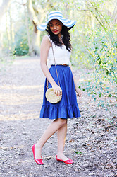 Nesha W - New Look Hat, Vintage Skirt, Red Herring Shoes, Thrifted Top, Primark Bag - Blue Stripes