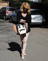 Francesca Romana C - Zara Studded Jacket, Céline Boston Bag, Zara Pastel Jeans - Celine Boston Bag