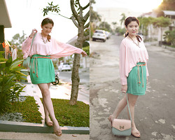 Caroline Susanto - Gowigasa Soft Blush Top, Gowigasa Lil Princess Skirt In Turquoise Mint, Tiffany & Co. Pinky Bag, Yves Saint Laurent Pink Flat Shoes, Unbranded Boho Belt - Pastel Romance