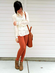 Amy C - Sheer Off White Houndstooth Button Up, Forever 21 Apricot Leggings, Sonoma Brown Lace Up Wedges, Old Navy Brown Faux Leather Shoulder Bag, Forever 21 Pyramid Earrings - Apricot Leggings