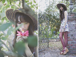 Kennedy Holmes - Vintage Straw Hat, Vintage Floral Dress, Urban Outfitters Fishnet Tights, Kork Ease Suede Platforms - A winter hiatus