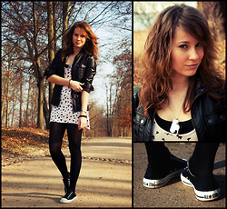 Emma SK - C&A Leather Jacket, Gina Tricot Shirt With Swallows, Converse Chucks - Swallows