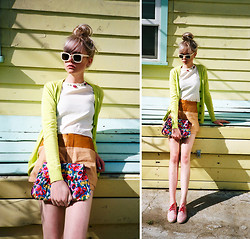 SAM ADAMS - Urban Outfitters Lime Green Cardigan, Project Urban Renewal White Blouse, Project Urban Renewal Shorts, Urban Outfitters Floral Oxfords, Project Urban Renewal Floral Clutch - Citronella