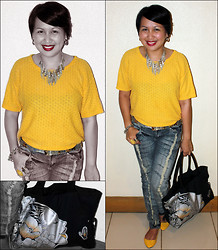 Ms. Chique - S&H Yellow Flats, Black Eyes Silver Lady Bag, Vanilla Star Shredded Denim Pants, Nordstrom Silver Gold Belt, Elfrance Knitted Yellow Top, Accesorize Silver Necklace,Bracelet, Rings - Honey, can i kiss you with my Big Red Lips?
