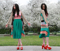 Jessica Marie. - Forever 21 Cropped Corset, Thrifted Striped Knit Cape, Thrifted Silk High Waist Midi Skirt, Kimchi Blue Chunky Platforms - In Full Bloom