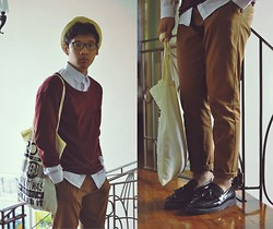 Jehan R. - Topman Chinos, Aldo Shoes, Zara Jumper, White Button Down, Topman Printed Shopper, F&H Straw Fedora - THISFIREGROWSHIGHER