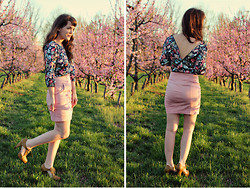 Selective Potential - Modcloth Floral Top, Modcloth Pink Skirt, Modcloth Cut Out Heels - The pink trees
