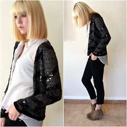 Halina Myers - Asos Aggie Boots, Asos Capri Pants, Topshop Sequin Cardigan, Glassons Chiffon Sheer Shirt - Ready For The Weekend - Calvin Harris High Contrast Remix