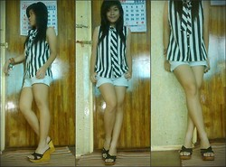 Felicia Cabangal - Evan Picone Stripes Blouse, Lucky Brand Acid Washed Shorts, Delicious Wooden Wedge - Stripes Everywhere.