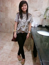 Felicia Cabangal - Basic Essentials Animal Print Blouse, Next Jeans Black, Timex White Watch, So Fab! Yellow Doll Shoes - @ The CR.