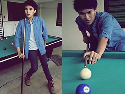 Carlo Agdamag - Gap Denim Polo, Bangkok Polka Dot Shirt, Lumberjack Boots - 9-Ball