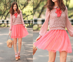 Mayo Wo - Sheinside Chiffon Crochet Blouse, Gotta Neon Pink Tulle Skirt, Kate Spade Elephant Basket, Opening Ceremony Chunky Mary Jane - Neon preppy
