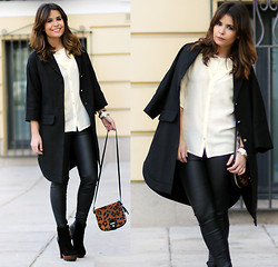 Sara E. - Hoss Intropia Coat, Gaats Blouse, Zara Leggings, Friis & Company Boots, Zara Bag - Black, White & Leopard