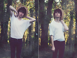 Kyle James Jammeson Prosser - Urban Outfitters Jeans, American Apparel Sheer Top, Straw Hat - VLADMIR
