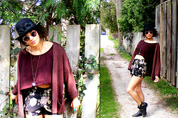 Julia Couture - Vintage Charlie Chaplin Ribbon And Bow Hat, H&M Baggy Cardigan, Crop Top, Floral Shorts, Vintage Studded Boots - In Full Bloom