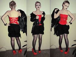 "Karolina Koblenova - Second Hand ""Front"" Pilsen Red Slutty Corset, Bodyline Bloomers, Jannis Red Heels, Vintage Biker, New Yorker Bracelet - Where is my mind?"