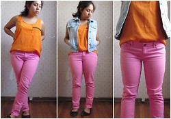 Gaby Fuentes - Topshop Orange Top, Topshop Jeans Jacket, Zara Pink Jeans - Color block