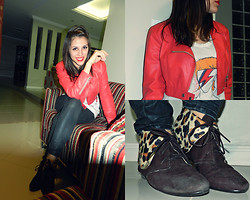 F Esther - Red Leather Jacket, Moleca Leopard Shoes, Bee Jeans Leather Like, I Draw The Print David Bowie Tee - WHO WILL LOVE ALADDIN SANE? (Bowie's tee drawed by myself)