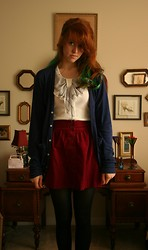 Erin Catherine - American Apparel Tricot Cardigan, Forever 21 Red Corduroy Skirt, Ebay Chiffon Bow Shirt - Romance is Boring