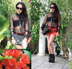 Chanelle M - Alexander Wang Shirt, Forever 21 Shorts, Louis Vuitton Boots, Chanel Bag, Mont Blanc Belt - X-ray