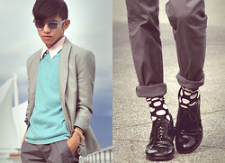 Mc kenneth Licon - Jnby Trousers, Oscar Magnuson Spectacles, Vintage Shirt, Vintage Mint Sweater, Jnby Blazer - Sweet Bubblegum