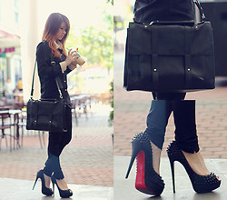 Anastasia Siantar - Slim Fit Shirt In Noir, Retro Bag, Christian Louboutin Lady Peep Spikes - That kind of day