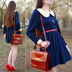 Ariadna Majewska - Navy Blue Dress With Peter Pan Collar, Asos Brown Leather Bag, Toria Blanic Red Leather Heels, Red Belt, Key Necklace, Oval Retro Earrings - Romantic dreamer
