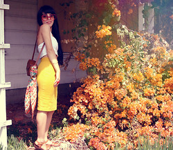 Valerie Lauren - Unknown 1970's Oversized Shades, Forever 21 Cropped Halter Top, Unknown Camera Bag, The Speciality House Floral Scarf, Unknown High Waist Yellow Skirt, Bass Leather Sandals - Spring Is For Smiles