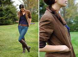 Josie Michelle - Loft Blazer, Gap Frill Tank, Gap Belt, J. Crew Jeans, Wanted Boots, Antique Necklace - Tweed and Things