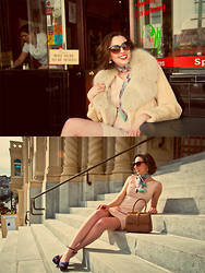 Paulina P. - Gucci Vintage Hand Bag, A. J. Morgan Sun Glasses, Vintage Scarf, Forever 21 Gold And Stoned Earrings, Vintage White Beaver And Fox Coller Fur Coat, Black Halo Pink Dress, Zara Polka Dot Pumps - The Little Italian