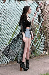Jessica Marie. - Forever 21 Cropped Corset, Thrifted Fringed Leather Bolero, Thrifted Sheer Metallic Threaded Cape, Levi's® High Waist Cut Off Denim Shorts, Bakers Chunky Platform Booties - Rogue Wanderer