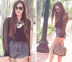 Simonett Pereira - Zara Sheer Black Blouse, Fake Frivolity Vintage Shorts, Chunky Necklace, Ray Ban Wayfarers - Empty Streets