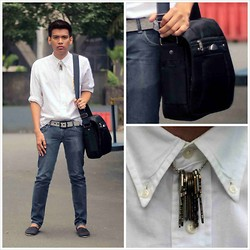 Hezron Peralta - Diy Neckpiece, Samsonite Body Bag, White Button Down, F&H Clothing Slim Fit Jeans - Locksmith in White
