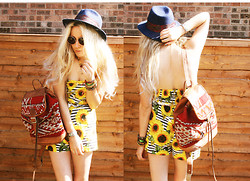 Penelope Sarah - Thrifted Hat, H&M Sunglasses, Morocco Aztec Backpack, Primark Sunflower Playsuit - SUNfl☮wer p☮wer