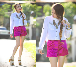 Wicked Ying - Pinkaholic Buttondown Top, Velvet Shorts, Gold Dot Peeptoe Booties - Look 361: In the Nick of Time