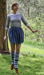 Dora K. - American Apparel Striped Dress, American Apparel Chambray Skirt, H&M Striped Knee Socks - It's(kiss me now)spring!