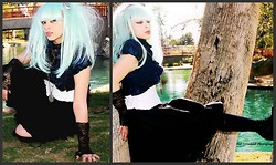 Batty Von Normal - Gothic Lolita Wigs Daily Doll Mint Wig, Burlesque White Underbust Corset, None Black Gothic Lolita Skirt, Forever 21 Royal Blue Half Jacket - Aqua