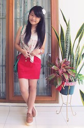 Veren Lee - Forever 21 Floral Sheer Top, Zara Red Skirt, Oasap Brown Creeper Shoes, Mango Green Sling Bag - Hello April