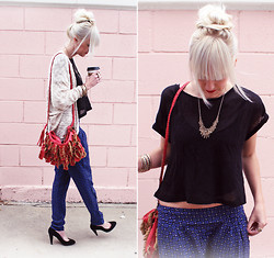 Kelli Murray Larson - Forever 21 Pants, Need Supply Co. Bag, Sparkle&Fade Sweater - SATURDAY MORNINGS