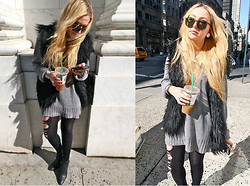 "Nicole Alyse - John Varvatos Over Sized Sweater, ""I Got It From My Mamaaa"" Vintage Vest, Sigerson Morrison Leather Wedges - Ice coffee and iPhone, always."