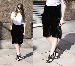 Charlie M - Moxham Taba Cuff, Miu Sunglasses, American Apparel White Tee, Pringle Velvet Shorts, Rupert Sanderson Cutout Stilettos - ITS JUST BLACK AND WHITE