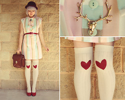 Annika Victoria - Vintage & Diy Dress, Diy, Ebay Elk Necklace, Shiny Red Shoes - Cotton Candy