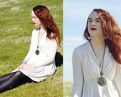 Marina Aurora Thorsen Ødegaard - Medallion Necklace, H&M White Dress, Kapphal Bracelet - Fireheart