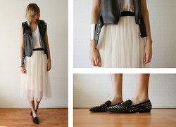 Sietske L - Minusey Leather Studded Gilet, Monki Top, Asos Silver Arm Cuff, Minusey Skirt, Romwe Spiked Loafers - I need some more votes, please see info below!