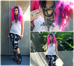 "Stephiee Nguyen - Hare ""Artsy"" Harem Pants, Jeffrey Campbell Potion Wedges, Wetseal Cheetah Burnout Tank, Betsey Johnson Giant Pegasus Necklace, Target Gem Chain Ring, Seoul, Korea B/W Wire Headband - Black & White = Fashion"