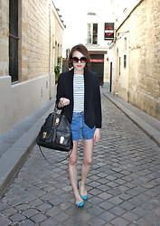 Ella Catliff - Whistles Blazer, Anne Bowes Jewellery Charm Necklace, French Connection Uk Breton Striped Tee, Mulberry Tillie Tote, Bdg Denim Shorts, French Sole Blue Patent Pumps - Back to Paris...