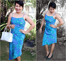 Ms. Chique - Celeb Gals Green Shoes, My Michelle Floral Symmetrical Dress, Lord & Taylor White Hand Bag, Hk Pearls - Sunday's Best